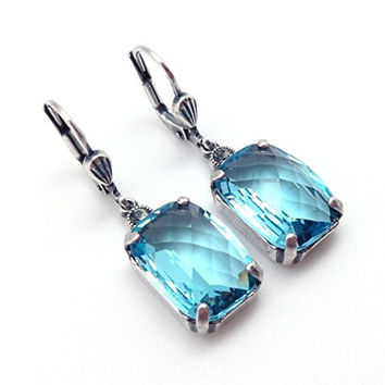 Catherine Popesco Aqua Fancy Rectangle Swarovski Silvertone Earrings