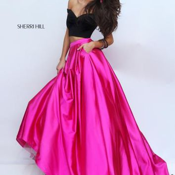 Sherri Hill Satin Two Piece Fuchsia Dress 50194