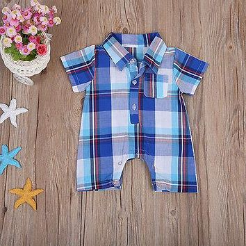Baby Boy Plaid Shirt Romper