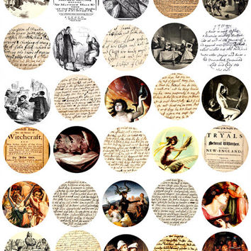 Salem Witch Trials written documents art witchcraft 1.5 inch circles digital download collage sheet image graphics hand writing old paper