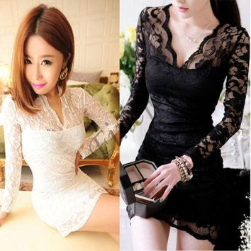 PEAPUG3 Women V-neck low-cut Long Sleeve Evening Party Cocktail Lace Mini Dress SV001069 = 1904202116