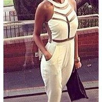 White Pink Sheer Mesh Cut Out Sleeveless Scoop Neck Jumpsuit