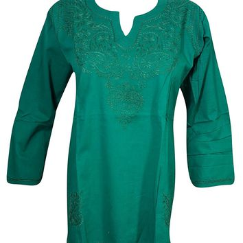 Mogul Interior Womens Tunic Cotton Paisley Embroidered Bohemian Cover up Top Blouse (Green 1)