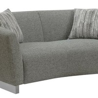 Gramer collection contemporary style grey woven fabric upholstered love seat with stainless steel legs