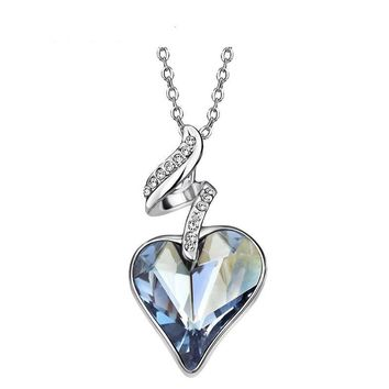Four Color Heart Love Chain Necklaces & Pendants For Women
