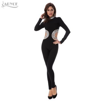 Adyce Spring New Arrive Black Stand Neck Full Sleeve Beading Hollow Out Back Zipper Women Celebrity Evening Party Jumpsuits