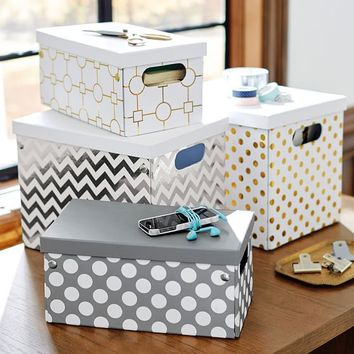 Metallic Printed Storage Bins