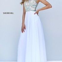 Illusion Sweetheart Long Sherri Hill Open Back Prom Dress
