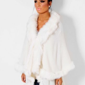 Angel White Fluffy Faux Fur Cape | Pink Boutique