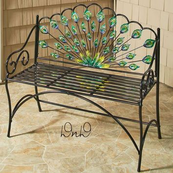 Peacock Bench Vibrant Colors Seats 2 Metal Sturdy Porch Deck Furniture