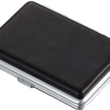 Visol Ethan Black Leather Double Sided Cigarette Case - Holds 18 100s Cigarettes