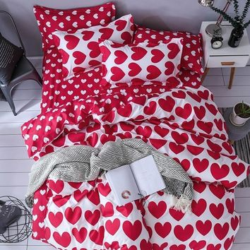 3D Home Textile Fashion Bedding Sets Girl Adult Teen Linens Red Heart Fashion Duvet Cover Pillowcase Flat Bed Sheet Queen