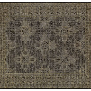 "10'x8'2"" Caine Rug, Black/Gold, Area Rugs"
