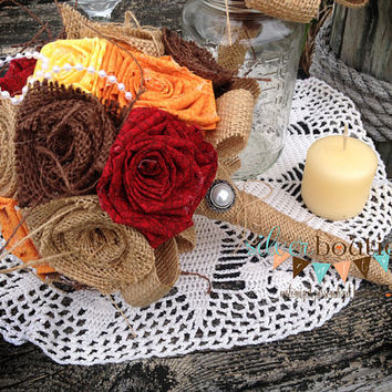 Fall Burlap Bouquet, Wedding Bouquet, Fall Bouquet, Wedding, Brown, Bride, Rustic Wedding, Groom Country Wedding, Burlap Bouquet Wrap, Favor