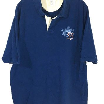 Disney Land Resort Embroidered 55 Mickey Crest Logo Polo Navy Blue Shirt Mens XL-Preowned