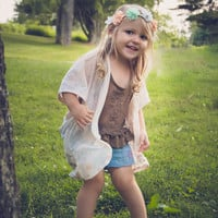 Boho Toddler Kimono Baby Kimono Mommy and Me Outfits Bohemian Girl Cream Tie Dye Top Sheer Kimono Baby Girl Dress Mommy and Me Kimonos