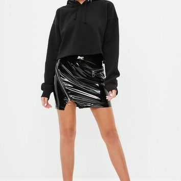 Missguided - Black Cropped Hoodie
