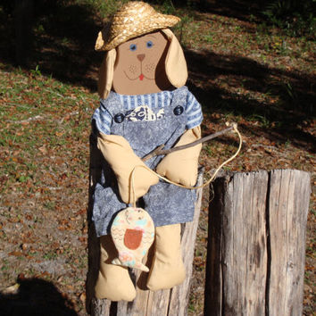 Wood shelf sitting fishing dog doll