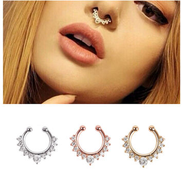 Fashion Alloy Nose Hoop Fake Nose Rings Body Piercing Jewelry Fake Septum Clicker Non Piercing Hanger Clip On Jewelry New