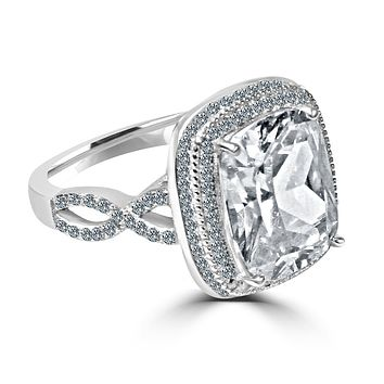 5 CT.(10x12mm) Intensely Radiant Emerald Cushion Center Diamond Veneer Cubic Zirconia with Halo Pave Set in Sterling Silver Ring. 635R0248