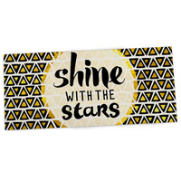 "Pom Graphic Design ""Shine with the Stars"" Black Yellow Desk Mat"