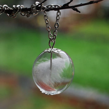 Angel Feather Necklace 04 Glass Globe White Feather Faith Bird Nature Inspired Wish Purity Light