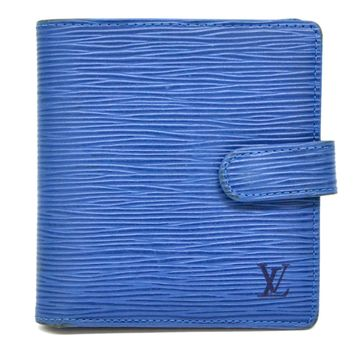 Authentic Louis Vuitton Epi Leather Bifold Wallet Porte Billets Compact Blue LV