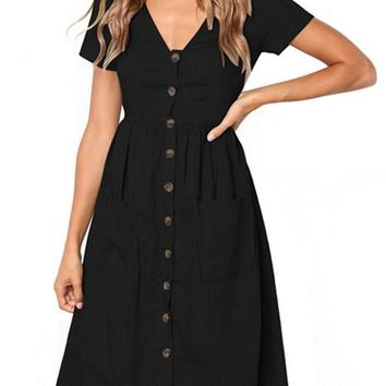 Black Stylish Button Front Midi Dresses with Pockets