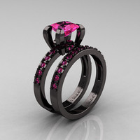 Modern French 14K Black Gold 1.0 Carat Princess Pink Sapphire Engagement Ring, Weding Band Bridal Set AR125S-14KBGPS