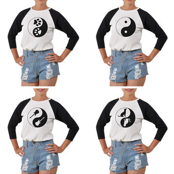 Women's Yin Yang-3 Printed Elbow Sleeves T- Shirt WTS_03