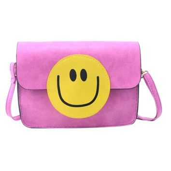 Smiley Faux Leather Shoulder Bag