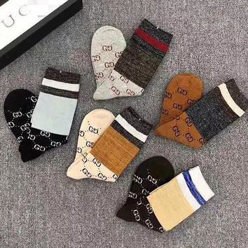 GUCCI Fashionable Women Men Retro Breathable Pure Cotton Sport Socks