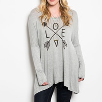 Plus Size Love & Arrow Graphic Printed Long Sleeve Top in Gray