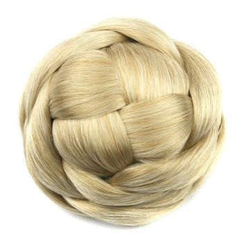 Soowee 6 Colors Synthetic Hair Braided Chignon Knitted Blonde Hair Bun Donut Roller Hairpieces Hairpiece Accessories for Women