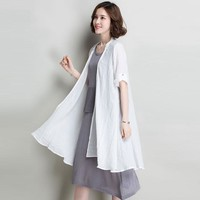 Linen Long Kimono Cardigan Sunscreen Clothing Solid Half Sleeve 2 Colors Beachwear Simple Design New Fashion 2017