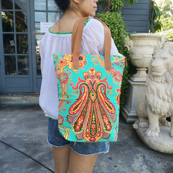 Tote bag Canvas Boho Neon Hippie Summer Beach bag Tribal bag Beach tote Canvas Hobo Hippie bag Weekender bag Beach bag Nepali Purse Yoga