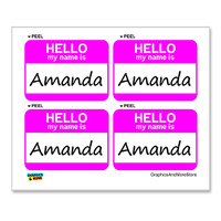 Amanda Hello My Name Is - Sheet of 4 Stickers