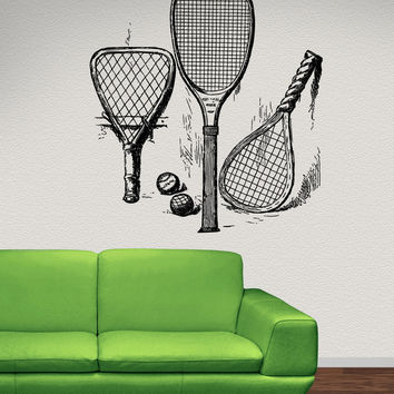 Vinyl Wall Decal Sticker Old Tennis Rackets #5112