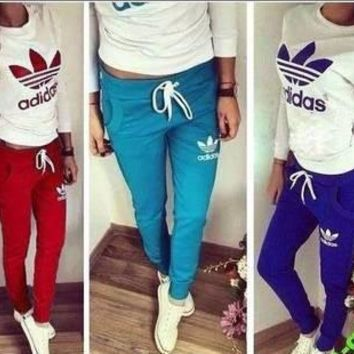 "[ On Sale ] "" Adidas "" like and Logo Print Casual Slim Fit Long Sleeve Women Blouse To"