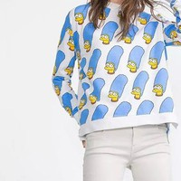 Womens Whimsical Sweatshirt - Marge Simpson Print / Blue Yellow White