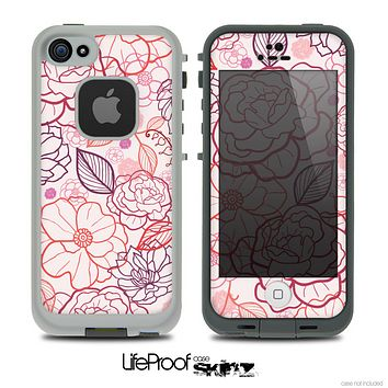 The Subtle Pink Floral Illustration Skin for the iPhone 4 or 5 LifeProof Case