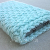 Mint Green Phone Sock Cozy- Crochet Phone Case, Iphone, Galaxy, HTC, Cell Phone Pouch
