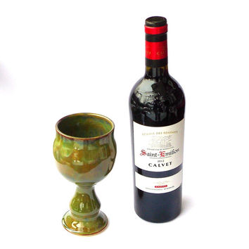 Hand Made Ceramic Wine Goblet, Pottery Wine Goblet in Seaweed Green with Decorative Stem, Ready to ship