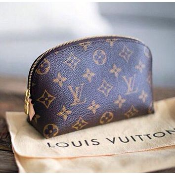 LV Louis Vuitton Retro Popular Women Zipper Toiletry Handbag Cosmetic Bag Purse Wallet