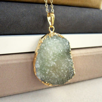 Drusy Necklace Geode Druzy Sage Green Big Gem Stone Gold Plated Layered Long Pendant Natural Rustic Statement Chunky Large Crystal Quartz