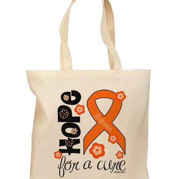Hope for a Cure - Orange Ribbon Leukemia - Flowers Grocery Tote Bag