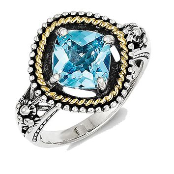 14k Yellow Gold & 925 Silver Blue Topaz Antiqued Cushion Ring: Size: 6