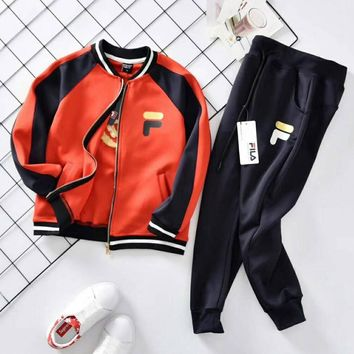 Fila Girls Boys Children Baby Toddler Kids Child Fashion Casual Cardigan Jacket Coat Pants Trousers Two Piece Set