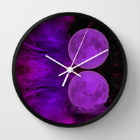 ONCE IN A PURPLE MOON Wall Clock by catspaws