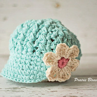 Robin's Egg Blue Crochet Baby Hat, Cotton Baby Girl Hat with Visor, Baby Girl Clothes, 0 to 12 Months